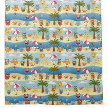 summer owls shower curtain