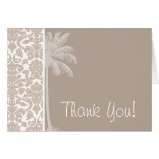 Summer Palm; Almond Color Damask Pattern Card
