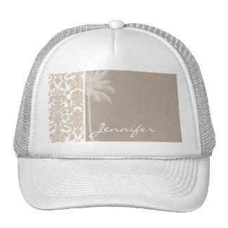 Summer Palm; Almond Color Damask Pattern Mesh Hats