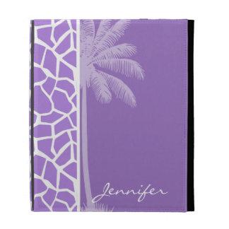 Summer Palm Amethyst Purple Giraffe Animal Print iPad Folio Covers