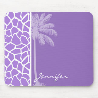 Summer Palm Amethyst Purple Giraffe Animal Print Mousepad