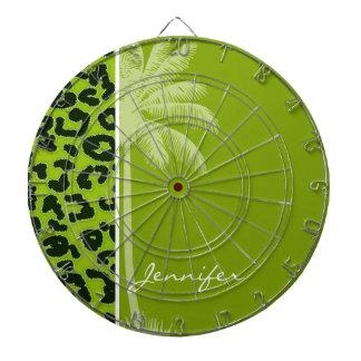 Summer Palm; Apple Green Leopard Animal Print Dart Board