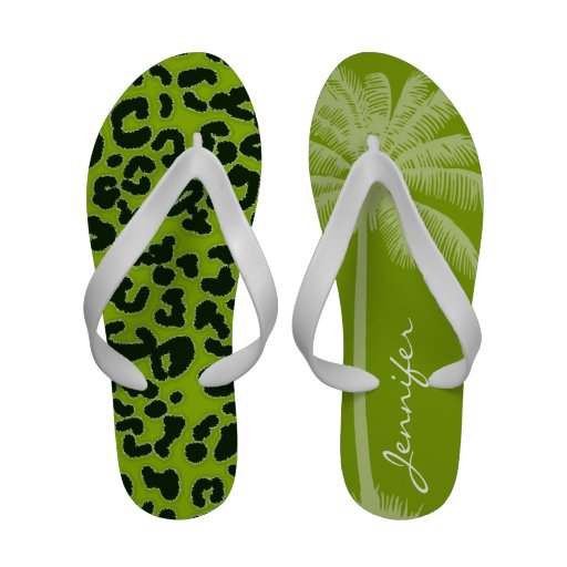 Summer Palm; Apple Green Leopard Animal Print Flip-Flops