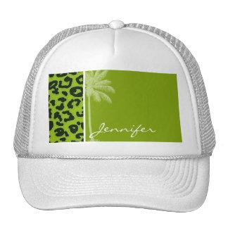 Summer Palm; Apple Green Leopard Animal Print Mesh Hat