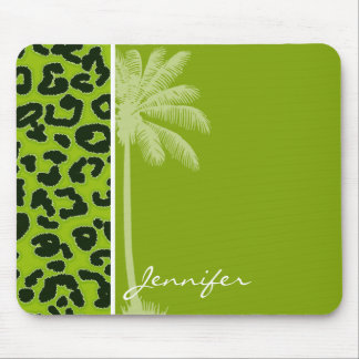 Summer Palm; Apple Green Leopard Animal Print Mouse Pad