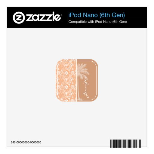 Summer Palm; Apricot Color Paisley; Floral iPod Nano 6G Skins