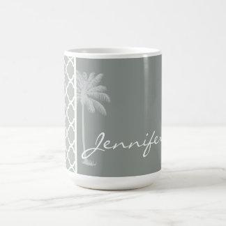 Summer Palm; Ash Gray; Grey Quatrefoil Mug