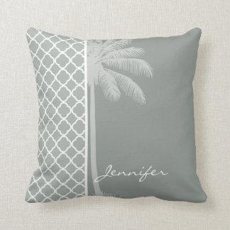 Summer Palm; Ash Gray; Grey Quatrefoil Throw Pillow