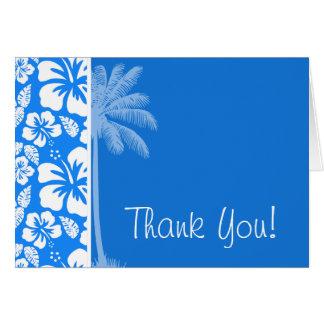 Summer Palm; Azure Blue Tropical Hibiscus Card