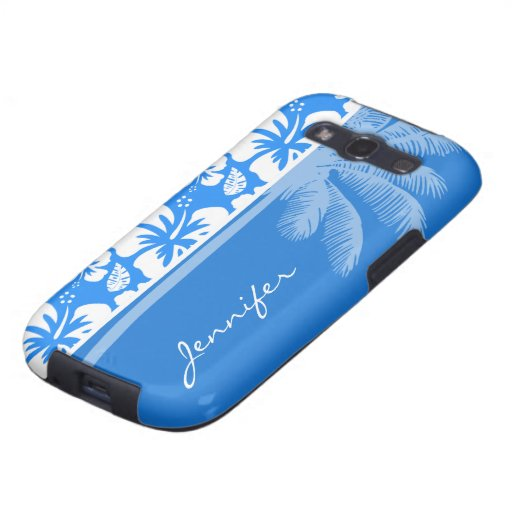 Summer Palm; Azure Blue Tropical Hibiscus Galaxy SIII Covers