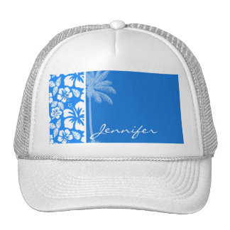 Summer Palm; Azure Blue Tropical Hibiscus Mesh Hat