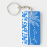Summer Palm; Azure Blue Tropical Hibiscus Rectangle Acrylic Key Chains