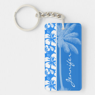 Summer Palm; Azure Blue Tropical Hibiscus Double-Sided Rectangular Acrylic Keychain