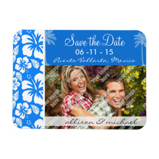 Summer Palm; Azure Blue Tropical Hibiscus Rectangular Photo Magnet