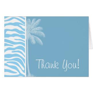 Summer Palm Baby Blue Zebra Animal Print Card