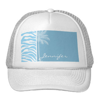 Summer Palm Baby Blue Zebra Animal Print Hat