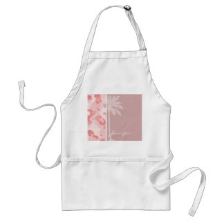 Summer Palm Baby Pink Camo; Camouflage Adult Apron