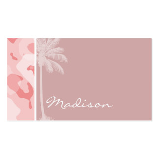 Summer Palm Baby Pink Camo; Camouflage Business Card