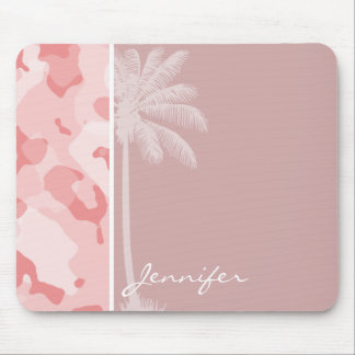 Summer Palm Baby Pink Camo; Camouflage Mouse Pad