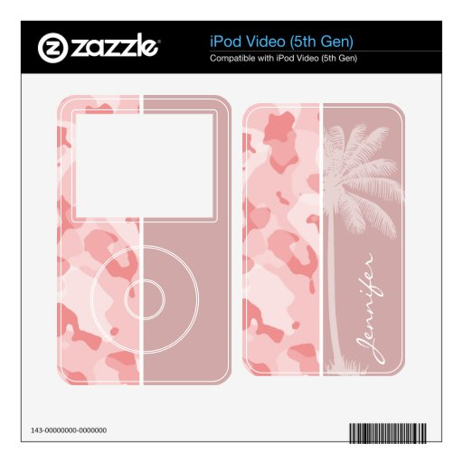 Summer Palm Baby Pink Camo; Camouflage iPod Video 5G Skin
