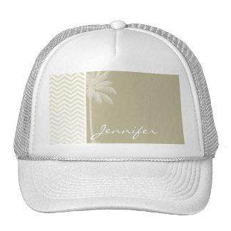 Summer Palm; Beige Chevron; zig zag Hat