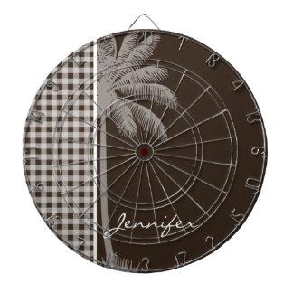 Summer Palm Bistre Brown Gingham; Checkered Dartboard