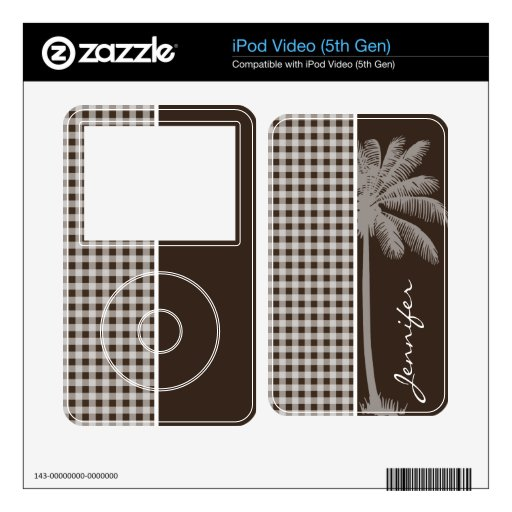 Summer Palm Bistre Brown Gingham; Checkered iPod Video 5G Decals