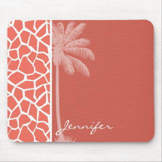 Summer Palm Bittersweet Color Giraffe Animal Print Mouse Pad