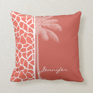 Summer Palm Bittersweet Color Giraffe Animal Print Throw Pillow