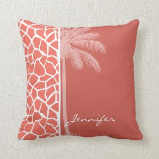 Summer Palm Bittersweet Color Giraffe Animal Print Throw Pillow
