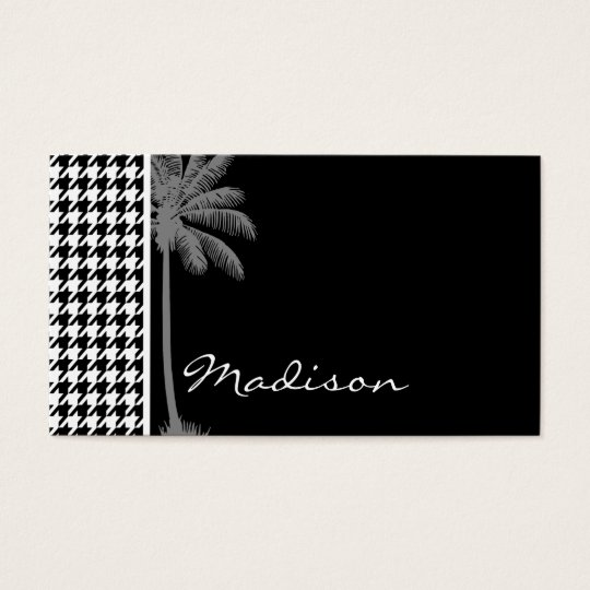 Summer Palm Black Houndstooth Business Card