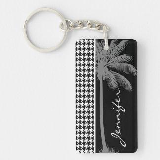 Summer Palm Black Houndstooth Keychain