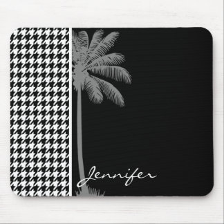 Summer Palm Black Houndstooth Mouse Pad