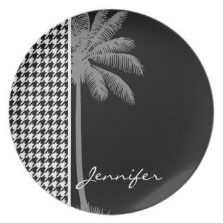 Summer Palm Black Houndstooth Plate