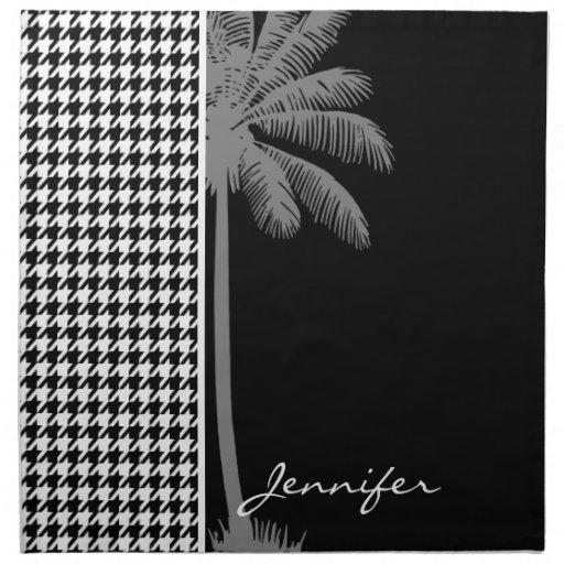 Summer Palm Black Houndstooth Printed Napkin