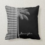 Summer Palm Black Houndstooth Throw Pillows