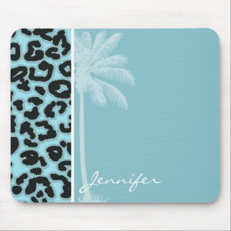 Summer Palm; Blizzard Blue Leopard Animal Print Mouse Pad