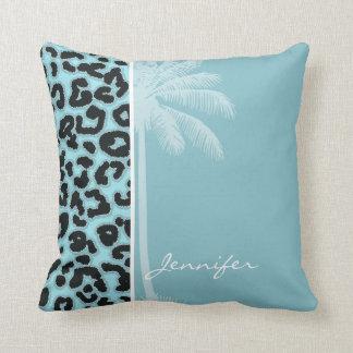 Summer Palm; Blizzard Blue Leopard Animal Print Throw Pillows