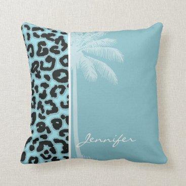 Beach Themed Summer Palm; Blizzard Blue Leopard Animal Print Throw Pillow