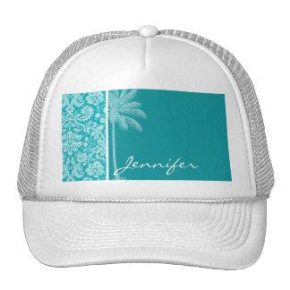 Summer Palm Blue-Green Damask Pattern Trucker Hat