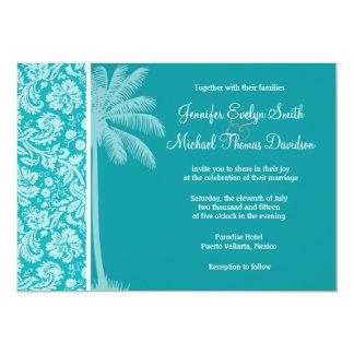 Summer Palm Blue-Green Damask Pattern Custom Invites