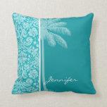 Summer Palm Blue-Green Damask Pattern Throw Pillows