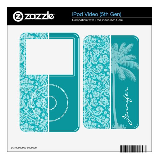 Summer Palm Blue-Green Damask Pattern Skins For The iPod Video