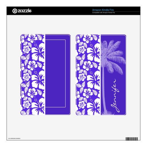 Summer Palm; Blue Violet Tropical Hibiscus Decal For Kindle Fire