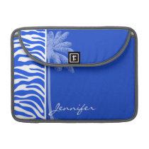 Summer Palm; Blue Zebra Animal Print Sleeve For MacBook Pro