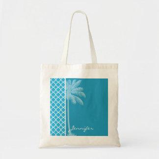Summer Palm; Bright Cerulean Quatrefoil Tote Bags
