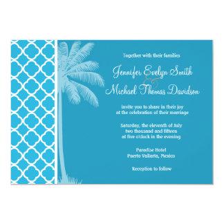 Summer Palm; Bright Cerulean Quatrefoil Invitations