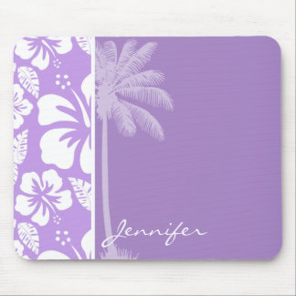 Summer Palm; Bright Lavender Tropical Hibiscus Mouse Pad