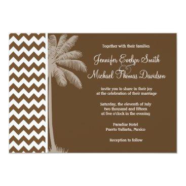 Beach Themed Summer Palm; Brown Chevron; zig zag Card