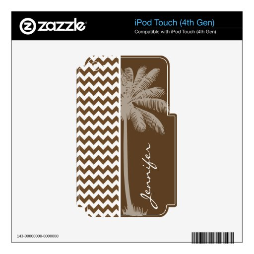 Summer Palm; Brown Chevron; zig zag iPod Touch 4G Skins